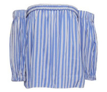 Off-the-shoulder Striped Cotton And Silk-blend Poplin Top Blue
