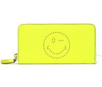 Neon perforated pebbled-leather wallet