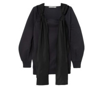 Woman Satin-trimmed Cotton-blend Sweatshirt Midnight Blue