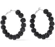 Bead, Crystal And Silver-tone Hoop Earrings Black Size --