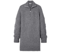 Oversized Cable-knit Wool-blend Sweater Gray