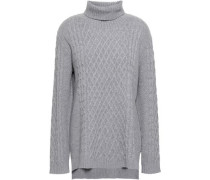 Woman Cable-knit Wool And Cashmere-blend Turtleneck Sweater Gray