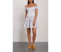 Maria Off-the-shoulder Shirred Printed Cotton-blend Poplin Mini Dress White