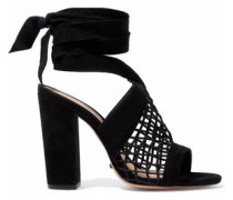 Bamby lattice-paneled suede sandals