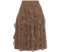 Ruffled Leopard-print Georgette Skirt Animal Print