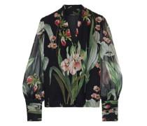 Laya Floral-print Silk-georgette Blouse Black