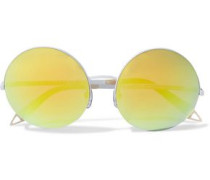 Round-frame coated-metal and printed acetate mirrored sunglasses