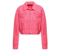 Woman Cropped Denim Jacket Bright Pink