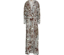 Printed Woven Maxi Dress Cream Size ONESIZE
