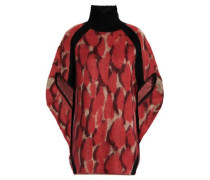 Draped Brushed Open-knit Sweater Red