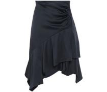 Wrap-effect Asymmetric Gathered Ruffled Satin-crepe Skirt Navy