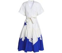 Gathered Cotton-poplin Midi Dress White