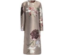 Metallic Silk-blend Floral-jacquard Dress Brass