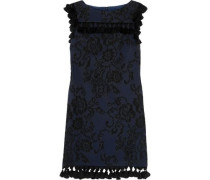 Tasseled embroidered faille mini dress