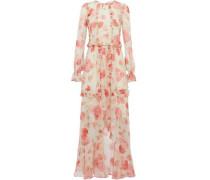 Asymmetric ruffled floral-print silk-chiffon maxi dress
