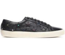 Appliquéd Crystal-embellished Leather Sneakers Black