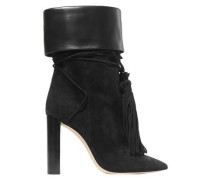 Tanger Leather-trimmed Tasseled Suede Ankle Boots Black