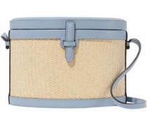 Leather And Woven Raffia Shoulder Bag Light Blue Size --