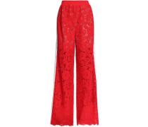 Corded lace wide-leg pants
