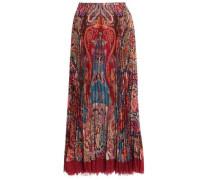 Pleated printed silk-crepe maxi skirt
