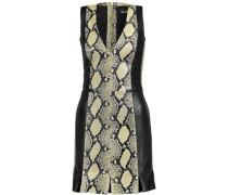 Paneled snake-effect leather mini dress