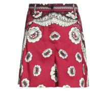 Printed silk-crepe shorts