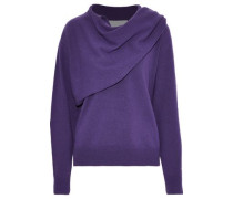 Woman Draped Wool And Cashmere-blend Sweater Purple