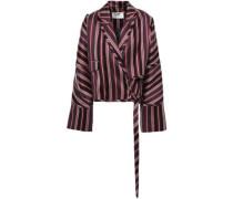 Folly Uniform Striped Cotton-blend Jacquard Wrap Jacket Burgundy Size 0