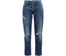 Distressed High-rise Straight-leg Jeans Mid Denim  4
