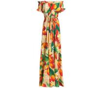 Carolina Off-the-shoulder Floral-print Silk Maxi Dress Multicolor