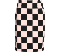 Checked stretch-cotton skirt