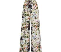 Floral-print Silk-crepe Wide-leg Pants Multicolor Size 0