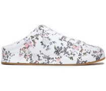 Floral-print Leather Slip-on Sneakers White