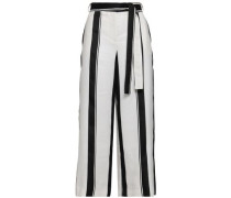 Polson Belted Striped Crepe Culottes Ivory
