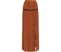 Flared pleated crepe maxi skirt
