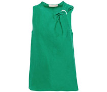 Woman Leonia Asymmetric Knotted Ring-embellished Woven Blouse Jade