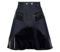 Vontz Vinyl-paneled Denim Mini Skirt Dark Denim Size 14