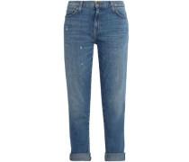 Faded High-rise Straight-leg Jeans Mid Denim  3