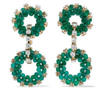 Gold-tone Bead And Crystal Earrings Emerald Size --