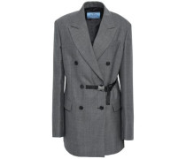 Double-breasted Belted Checked Wool Blazer Dark Gray