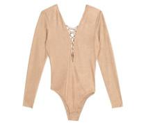 Lace-up Stretch-jersey Bodysuit Camel Size 0