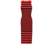 Striped Jacquard-knit Midi Dress Tomato Red