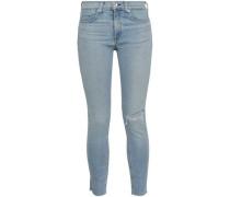 Distressed Mid-rise Skinny Jeans Light Denim  4