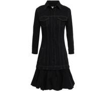 Layered Denim Mini Dress Black