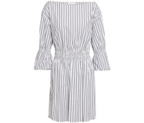 Gathered Striped Cotton-poplin Mini Dress White