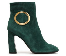 Buckle-embellished Suede Ankle Boots Emerald