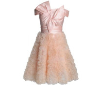 Off-the-shoulder Knotted Satin And Organza Dress Baby Pink