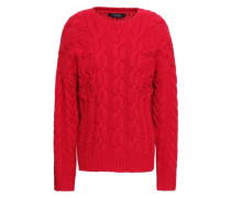 Cable-knit Wool And Cashmere-blend Sweater Crimson