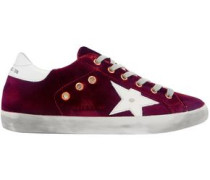 Super Star Velvet And Distressed Leather Sneakers Merlot