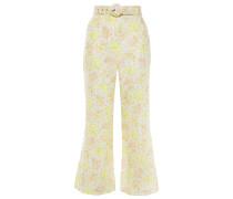Belted Floral-print Linen Flared Pants